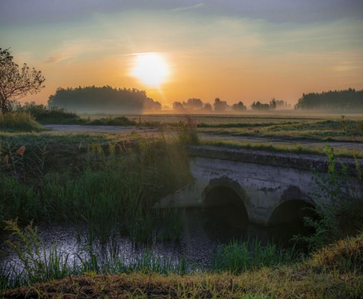Plener przy wschodzie słońca